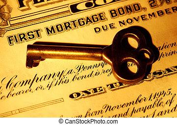 Mortgage Bond - Skeleton key and a Mortgage Bond Certificate