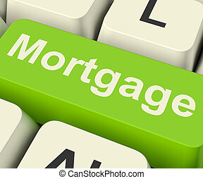 Mortgage Computer Key Showing Online Credit Or Borrowing -...