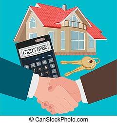 mortgage concept, handshake, vector