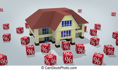 Mortgage concept - House with percentage symbols rotating on...