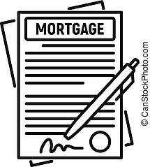 Mortgage contract paper icon, outline style