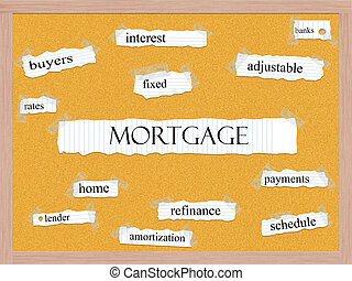 Mortgage Corkboard Word Concept with great terms such as...