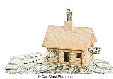 Mortgage Crisis Series - Log cabin full of money. Isolated...