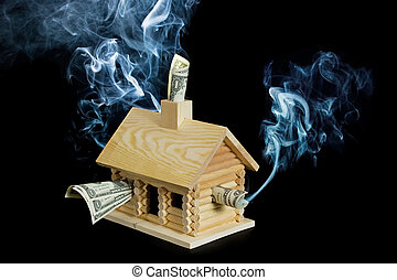 Mortgage Crisis Series - Log cabin stuffed with money with...