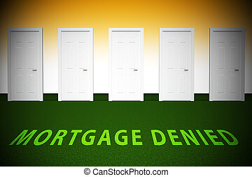 Mortgage Denied Doorway Demonstrates Property Purchase Loan ...