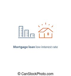 Mortgage down payment, home loan, low interest rate, descending coin stack, line icon