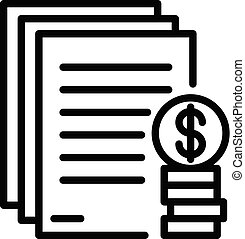 Mortgage down payment icon, outline style