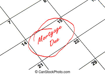Mortgage Due Circled on A Calendar in Red