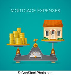 Mortgage expenses vector concept in flat style