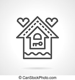 Mortgage for young family black line vector icon