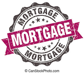 mortgage grunge violet seal isolated on white