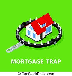 Mortgage House In Bear Trap. 3D rendering isolated on white...