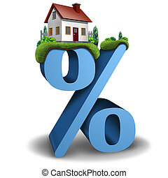 Mortgage interest rate home and house real estate banking and lending percentage concept as a 3D illustration.