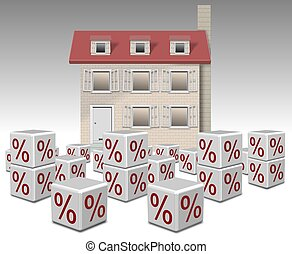 mortgage interest rates - a group of white cubes with...