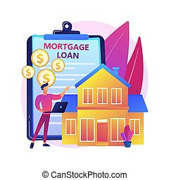 Mortgage loan abstract concept vector illustration.