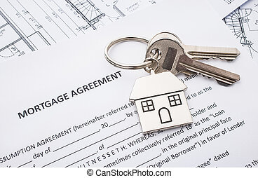 Mortgage loan agreement application with house shaped...