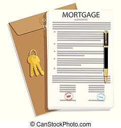 Mortgage loan application, contract with house key and pen. Vector illustration