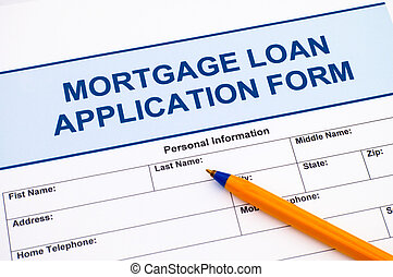 Mortgage Loan application form with pen