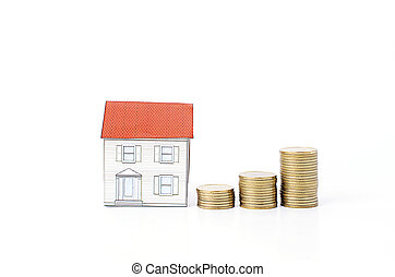 Mortgage loans concept with Coins stack Isolated on white backgrounds