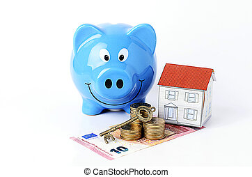 mortgage loans concept with key on coins stack and euro banknote with paper house and piggy bank