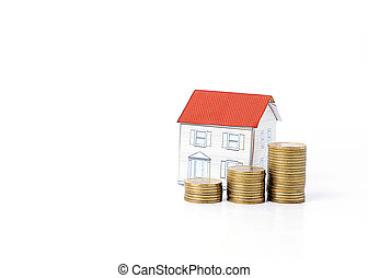 Mortgage loans concept with money coins stack and paper house Isolated on white backgrounds