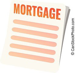 Mortgage paper icon, cartoon style