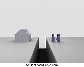 Real estate gap. Conceptual image of a couple beeing seperated from their house by a trench.