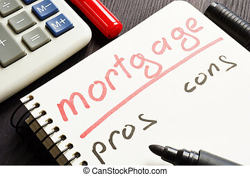 Mortgage pros and cons handwritten in a note.