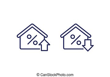 mortgage rate growing and reducing icons
