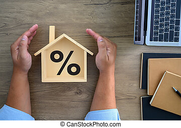 Mortgage rates business concept of investment housing real estate interest rates