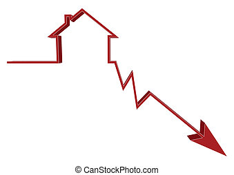 A conceptual illustration on house prices going down