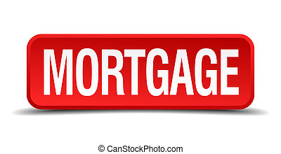 Mortgage red 3d square button isolated on white