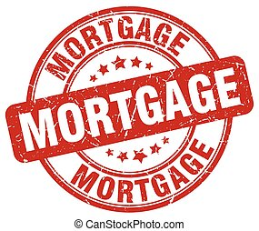 mortgage red grunge round vintage rubber stamp