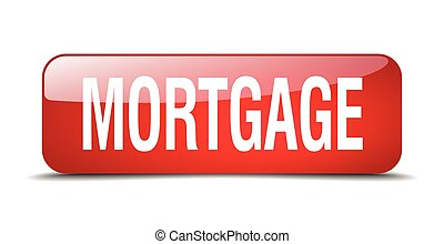 mortgage red square 3d realistic isolated web button