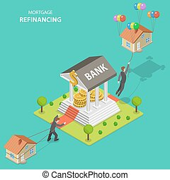 Mortgage refinancing isometric flat vector illustration. A...
