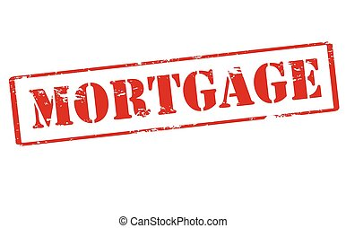 Rubber stamp with word mortgage inside, vector illustration