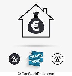 Mortgage sign icon. Real estate symbol. Bank loans. Flat...