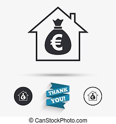 Mortgage sign icon. Real estate symbol. Bank loans. Flat icons. Buttons with icons. Thank you ribbon. Vector