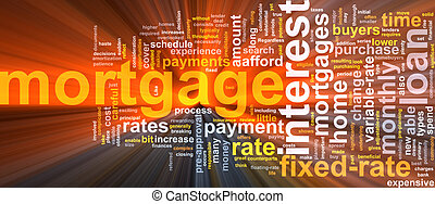 Mortgage word cloud glowing - Word cloud concept ...