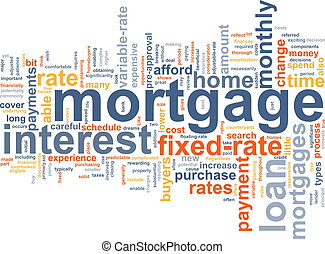 Word cloud concept illustration of house mortgage
