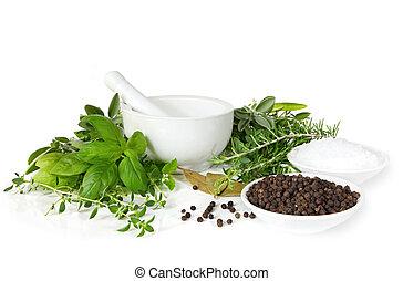mortier, épices, pilon, herbes