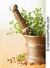 mortier, herbes