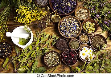 mortier, monde médical, naturel, herbes, assorti