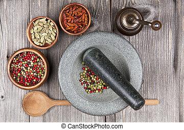 mortier, poivre, épices, moulin, pilon