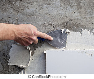 mortier, travail, truelle, spatule, construction, carreau