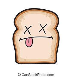 morto, fatia, caricatura, pão, ilustração