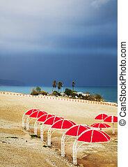 morto, thunder-storm, guarda-chuvas, costa mar, praia, vermelho