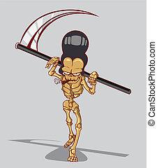 mortos, é, um, esqueleto