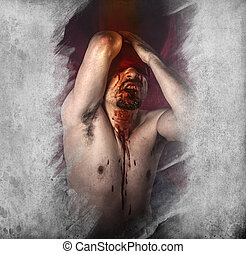 mortos, cego, anjo, modelo, mal, macho, caído