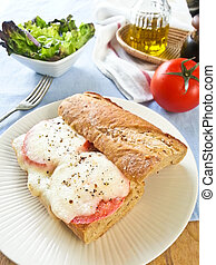 Morzarella sandwich - Melt Mozzarella on wholewheat Baguette...